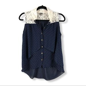 HeartSoul Sleeveless Polka Dot Lace Top B20